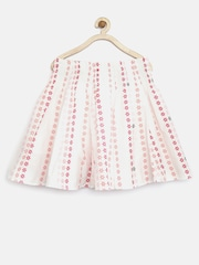 Tiny Girl White Floral Print Flared Skirt