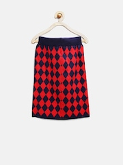 Tiny Girl Navy & Red Diagonal Checked Pencil Skirt