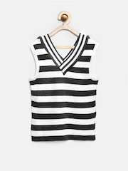 Tiny Girl Black & White Striped Top