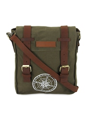 The House Of Tara Unisex Olive Green Messenger Bag