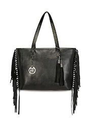 Phive Rivers Black Leather Fringe Handbag