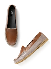 Mast & Harbour Women Brown & Taupe Leather Loafers