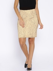 Arrow Woman Beige & Black Lace Pencil Skirt