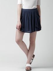 FOREVER 21 Navy Crinkled Flared Mini Skirt