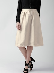 FOREVER 21 Gold-Coloured Shimmer A-Line Midi Skirt
