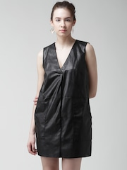 FOREVER 21 Black Faux Leather Shift Dress