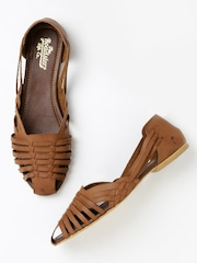 Roadster Women Tan Brown Leather Flats