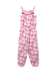 Beebay Girls Pink Floral Print Playsuit