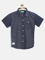 Palm Tree by Gini & Jony Boys Navy Dot Print Shirt