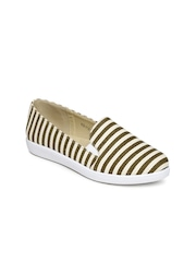 Solovoga Women Olive Green & Beige Striped Flat Shoes