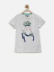 Tommy Hilfiger Girls Grey Melange Printed T-shirt