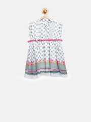Peppermint Girls White Printed Fit & Flare Dress