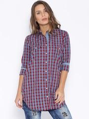 Tokyo Talkies Red & Blue Checked Tunic Shirt