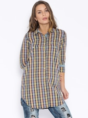Tokyo Talkies Yellow & Navy Checked Tunic Shirt