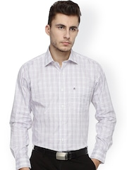 Balista White & Purple Checked Classic Fit Formal Shirt