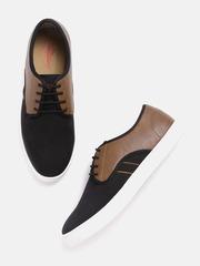 Roadster Men Black & Brown Textured Sneakers