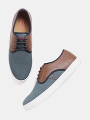 Roadster Men Grey & Brown Textured Sneakers