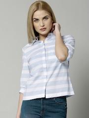 Marks & Spencer Blue Pure Cotton Striped Shirt