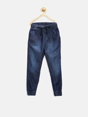 Gini & Jony Girls Blue Washed Cuffed Denim Jeggings