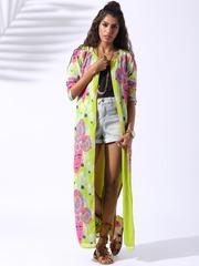 Lokal South Lime Green Hippie Sarada Printed Kimono Shrug