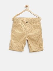 United Colors of Benetton Boys Beige Printed Shorts