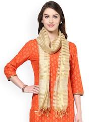 Dupatta Bazaar Gold-Toned Striped Dupatta