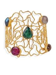 Blueberry Gold-Toned Handcrafted Embellished Cuff Bracelet