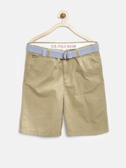 U.S. Polo Assn. Kids Boys Khaki Shorts with Belt