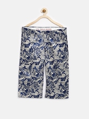 U.S. Polo Assn. Kids Boys Off-White & Navy Tropical Print 3/4th Shorts