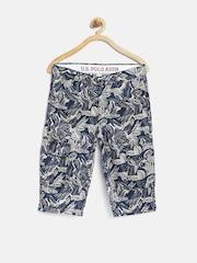 U.S. Polo Assn. Kids Boys Blue & Off-White Tropical Print 3/4th Cargo Shorts