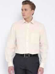 John Players Beige Striped Slim Linen Formal Shirt