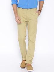 John Players Beige Regular Fit Casual Trousers