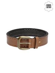 V Dot Men Tan Brown Leather Belt