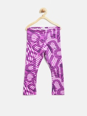 PUMA Girls Pink & Purple Printed Tights