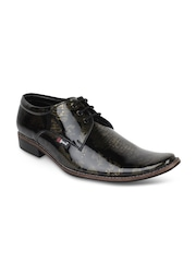 Guava Men Black Printed Formal Shoes