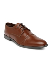 INVICTUS Men Tan Brown Leather Formal Shoes