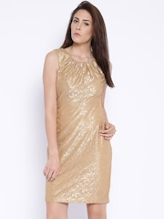 Park Avenue Woman Beige Lace Sheath Dress