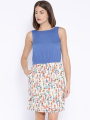 People Blue & Cream-Coloured Printed Shift Dress