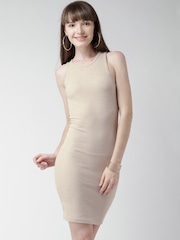 FOREVER 21 Beige Self-Striped Bodycon Dress