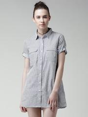 FOREVER 21 Navy & White Striped Shirt Dress
