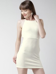 FOREVER 21 Off-White Textured Cut-Out Sheath Dress