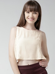 FOREVER 21 Cream-Coloured Lace Detail Crop Top