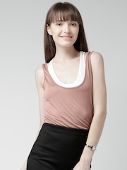 FOREVER 21 Dusty Pink & Off-White Layered Tank Top