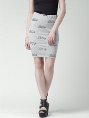 FOREVER 21 Grey Melange Text Print Pencil Skirt