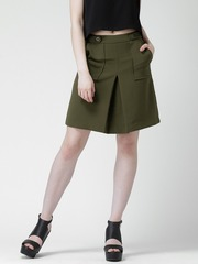 FOREVER 21 Olive Green Pleated A-Line Skirt