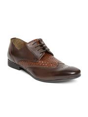 Knotty Derby by Arden Men Brown Basketweave Semiformal Shoes