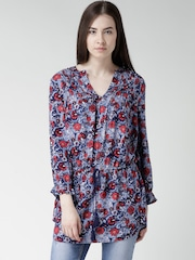FOREVER 21 Blue Floral Print Tunic