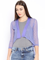 AND by Anita Dongre Purple Lace Crop Shrug
