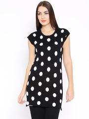 AND by Anita Dongre Black Polka Dot Print Tunic