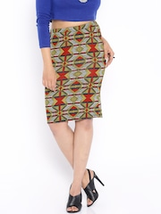 Global Desi Multicoloured Printed Pencil Skirt